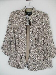 Alex Evenings Jacket Plus Size 2X Beige Mandarin Glitter 3/4 Sleeve NEW NWT