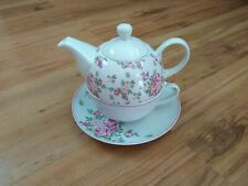 Crofton Tea For One Teapot Tea Cup & Saucer Pink White Floral VGC