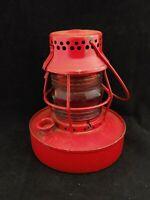 Vintage Handlan Red Globe 8in Kerosene Lantern