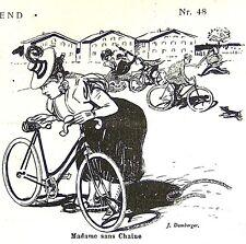 Madame sans Chaise - Frau ohne Fahrradkette Originaldruck Münchner Jugend 1897