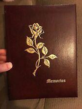 Vintage Memories Funeral Guest Book Album Memories Red Gold Rose Death Record
