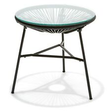 Modern Stylish Retro Acapulco Replica Side Table Backyard Outdoor Tempered Glass
