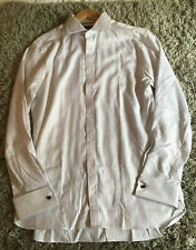 BN Mens M&S Tailored Fit Pure Cotton White & Blue Striped Shirt 16 Collar £45