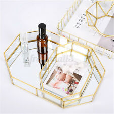 Mirror Glass Tray Octagon Cosmetic Makeup Organizer Jewelry Display Holder