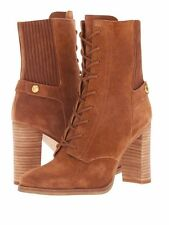 Michael Kors Carrigan Lace Up Suede Leather Ankle Boots Zip High Heel Brown 6.5