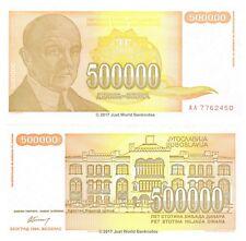 Yugoslavia 500000 Dinara 1994 P-143 First Prefix 'AA' Banknotes UNC