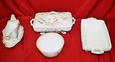 ANTIQUE T&R BOOTE SUMMER TIME  Brwn/White Transferware Ironstone 4 Piece Service