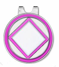 NA Golf Ball Marker w/ Magnetic Hat Clip PINK/ WHITE & SILVER-Recovery Program