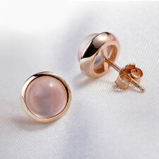 New Ladies 925 Sterling Silver Pink Crystal Rose Quartz Round Ear Stud Earrings