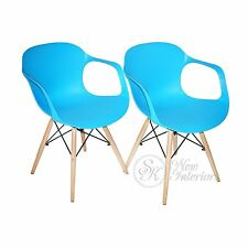 Blue Plastic Molded Dining Armchairs Modern with Natural Wood Legs Set of 2
