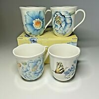 Lenox Butterfly Meadow Blue Coffee Tea Mugs Cups Set of 4 Assorted 10oz Floral