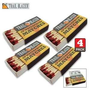 Waterproof Matches - Four Packs of 40 = 160 Trailblazer Waterproof Matches