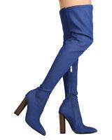 New Women Cape Robbin Connie-10 Denim Thigh High Pointy Toe Chunky Heel Boot