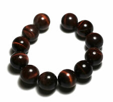 12 NATURAL LARGE SHINY Red Tiger's Eye Round Beads 15mm K4620