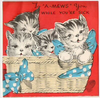"""To """"A-Mews"""" You Kitty Cats Cute Multi Page Die Cut Vintage Greeting Card 1940s"""