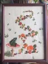 Vtg 1970s Frog on Toadstool Crewel Finished Needlework Glass Framed Embroidery