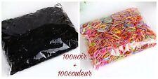 Élastiques cheveux couleur et noir pour l'enfant - lot de 200 pièces