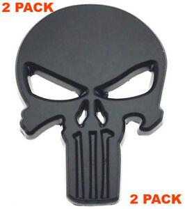 (2x) 3D Metal Punisher Sticker Emblem Custom Decal Auto Car Badge BLACK