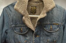 Lucky Brand 6-Button Denim Jacket W/Partial Faux Fur Lining Size Small