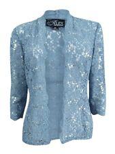 Alex Evenings Women's Blue Sequined Lace Sleeveless Midi Dress Size 12p