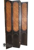 4 Panel French Country Wood Room Divider Folding Screen Home Decor Lattice Work