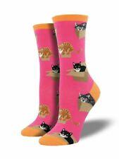 Socksmith Women's CAT IN A BOX Crew Socks PINK & ORANGE Pet Novelty Footwear NEW
