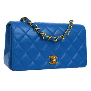 CHANEL Quilted CC Full Flap Single Chain Shoulder Bag Blue Leather S08785j