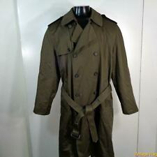 Belted Long RAINCOAT Rain Trench Coat Mens Size 42S L Short olive green
