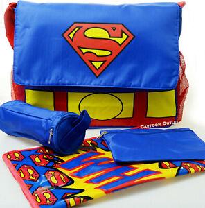 Diaper Bag Set Large Superman Baby Bottle Holder Boys Girls Baby Shower Gift New