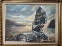 """Original Painting OIL ON CANVAS SIGNED FUGEMAN 1957 Boats Harbor - Framed 18X24"""""""
