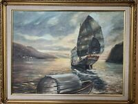 "Original 1957 MCM OIL ON CANVAS By FUGEMAN 1957 Boat Harbor Sea Framed 18X24"""