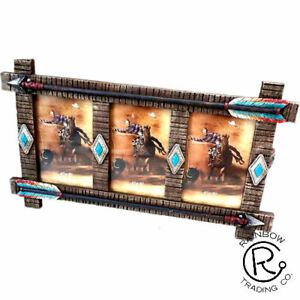 "Photo Frame 3-4""x6"" Photo Western Rustic Arrows Aztec Turquoise Diamond RA5728"