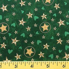 COWPOKES cotton fabric sewing quilting GOLD STARS HEARTS COWBOY green   1yd,27in