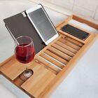 WoodLuv Luxury Bath Bridge Tub Caddy Tray Rack Bathroom Shelf Bamboo