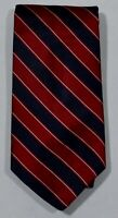 BROOKS BROTHERS 346 Red Navy Blue White Diagonal Stripe 100% Silk Neck Tie USA
