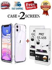 Clear iPhone 11 soft Case Cover And 2 pack of tempered glass screen protector