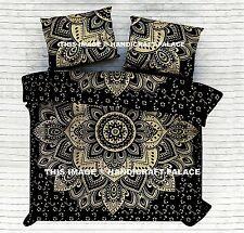 Indian Black Gold Ombre Mandala Quilt Duvet Cover Bedding King Doona Cover Set