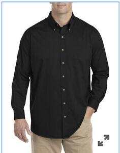 Basic Editions Men's Big & Tall Button-Front Black Dress Shirt -Black 3XL- 5XL