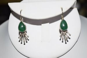 Vintage 925 Genuine Green Jadeite Sunburst Earrings
