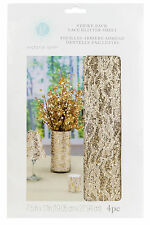 Darice Gold Glittered Lace Overlay Decoration, 4 Pack