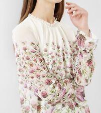Ted Baker London Deasil Thistle Frill Hight Neck Dress Sz 2 TB 100% Authentic