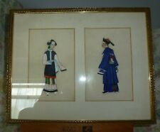 Antique Chinese paintings on pith rice paper lady & man