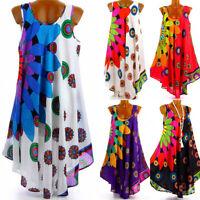 Plus Size Women Chiffon Sleeveless Blouse Tank Top Summer Tunic Shirt Mini Dress