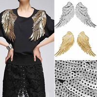 1Pair Wings Sequins Iron-On Embroidered Patch Applique Motif Garment Decor