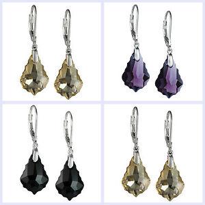 Swarovski Elements Baroque Crystal 925 Sterling Silver Leverback Dangle Earring