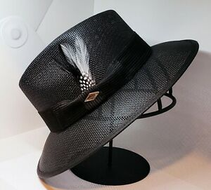 Men' Classic Viejo black Lowrider Hat fedora  white and  black Rooster feather