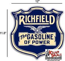 "12"" EARLY RICHFIELD HI OCTANE  GASOLINE OIL VINYL DECAL GAS PUMP LUBSTER"