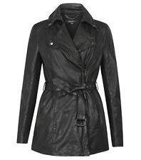 Muubaa Jena Long Leather Mac Trench Jacket in Black. RRP £399. UK 8. M0323.