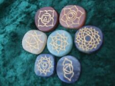 Carved Chakra Palm Stones Set Healing Reiki Crystal & Pouch Energy Charged