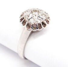 Vintage 14k White Gold 0.50tcw Mini Dome Cluster Diamond Star Ring Size 8